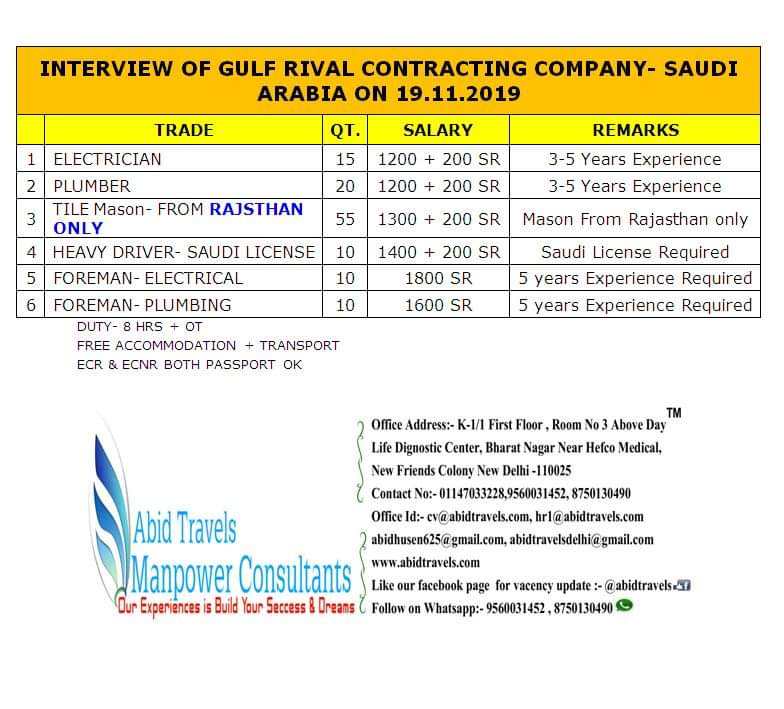 JOB VACANCIES IN RIVAL CONTRACTING COMPANY IN SAUDI ARABIA