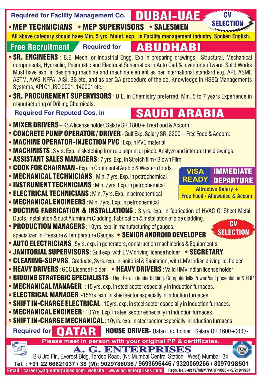 JOB OPENINGS IN GULF COUNTRIES