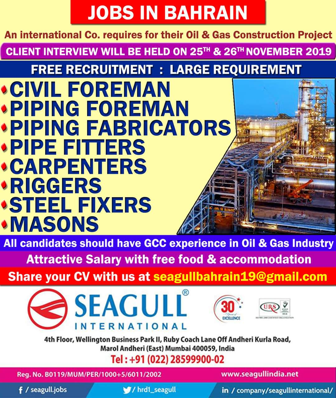 JOB VACANCIES IN OIL AND GAS CONSTRUCTION PROJECT IN BAHRAIN