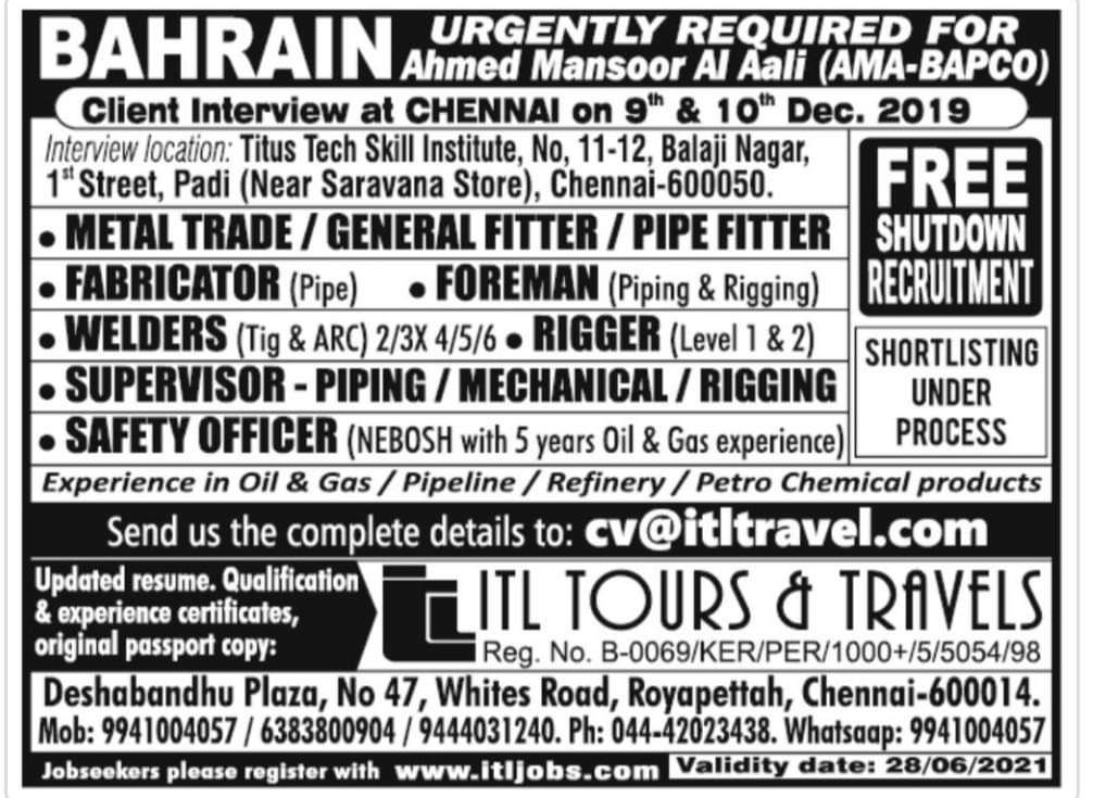 URGENTLY REQUIRED FOR A BAHRAIN INTERVIEW