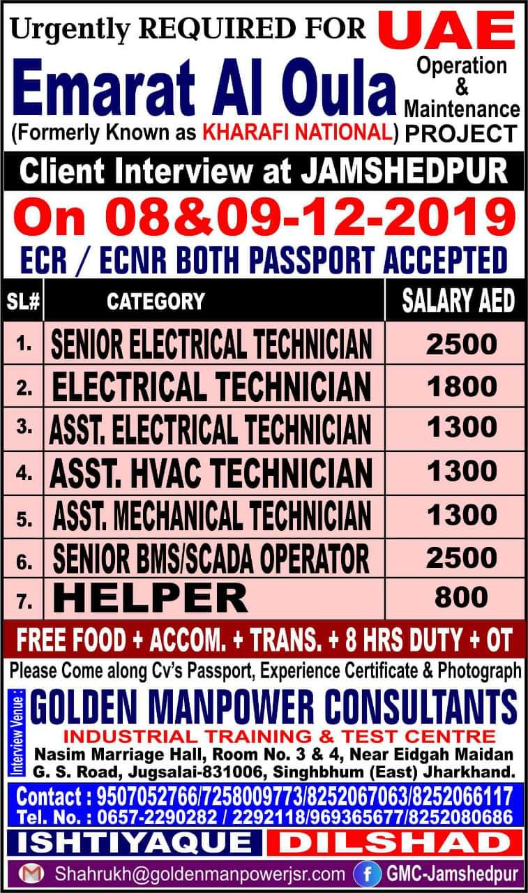 URGENTLY REQUIRED FOR  UAE OPERATION AND MAINTENANCE PROJECT