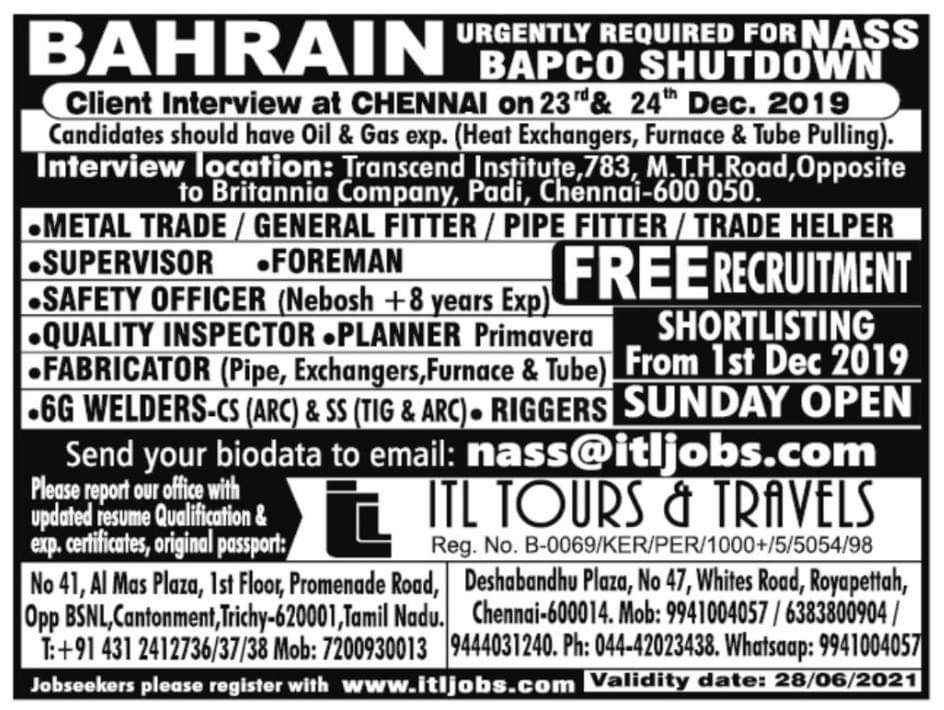 BAHRAIN CLIENT INTERVIEW AT CHENNAI