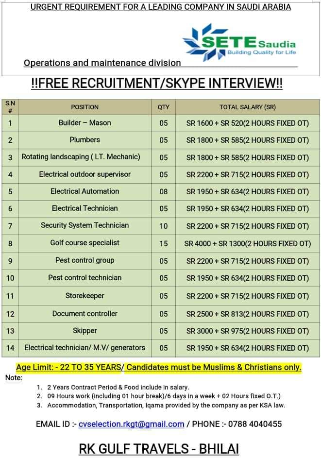 JOB VACANCIES IN A LEADING COMPANY IN SAUDI ARABIA