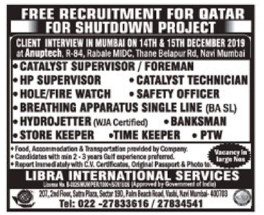 HUGE RECRUITMENT FOR QATAR FOR SHUTDOWN PROJECT