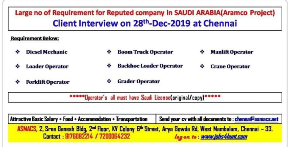 LARGE NO OF REQUIREMENT FOR REPUTED COMPANY IN SAUDI ARABIA