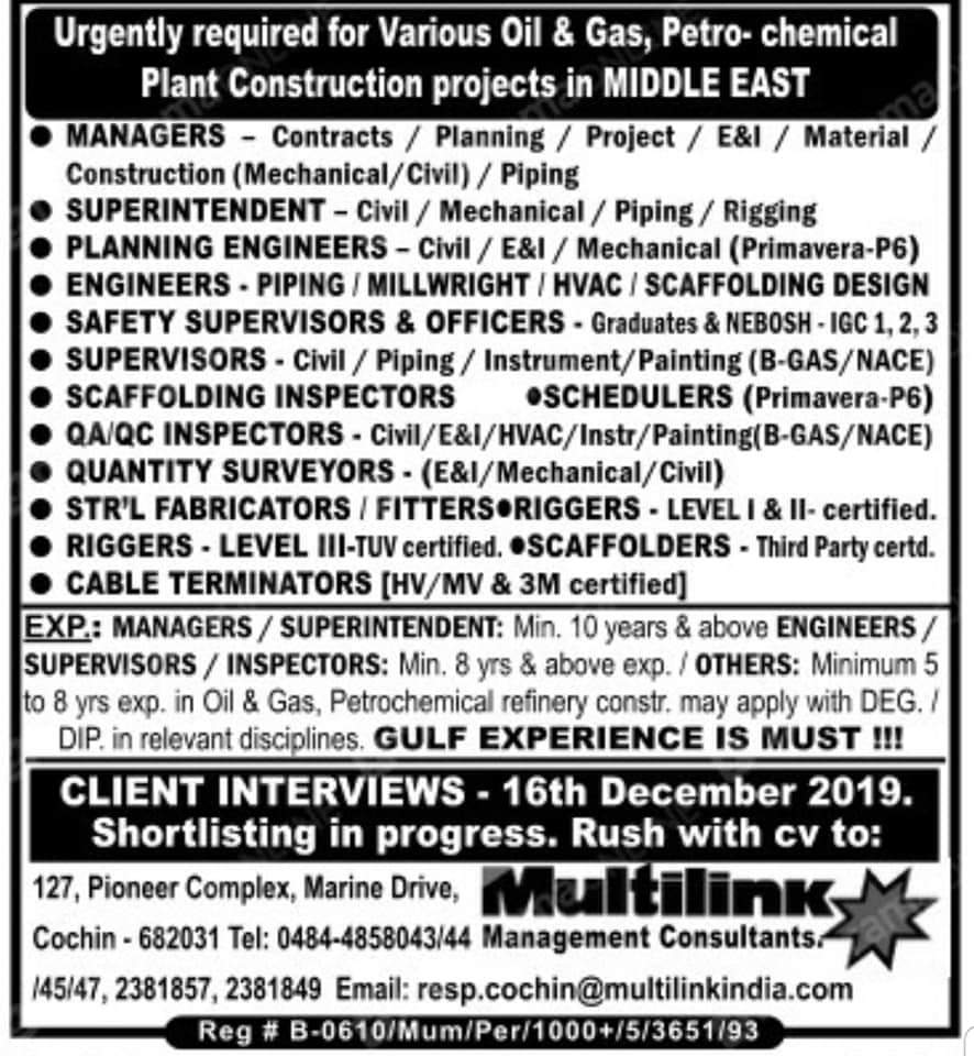 HUGE JOB OPENINGS IN A VARIOUS OIL AND GAS  PETROCHEMICAL PLANT CONSTRUCTION PROJECTS IN MIDDLE EAST
