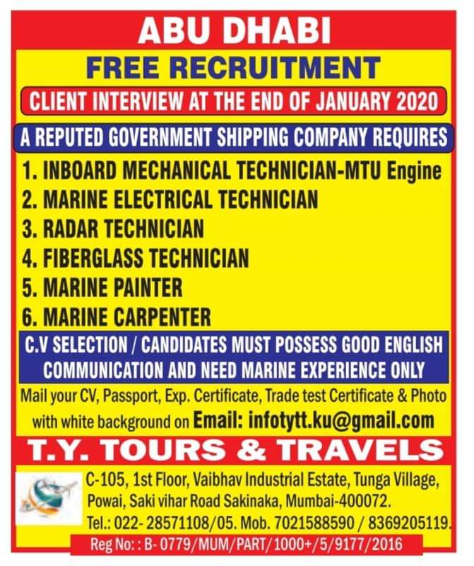 ABU DHABI A GOVERNMENT  SHIPPING COMPANY  FREE RECRUITMENT