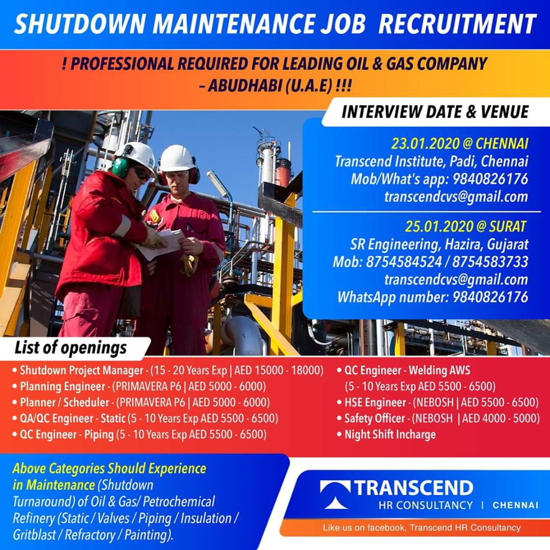 ABUDHABI SHUTDOWN MAINTENANCE JOB INTERVIEW AT CHENNAI