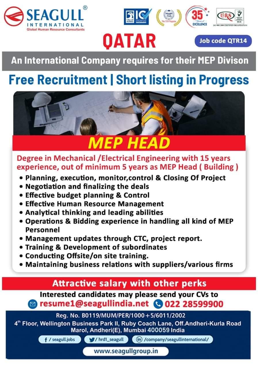 Free Recruitment Qatar MEP Head Vacancy