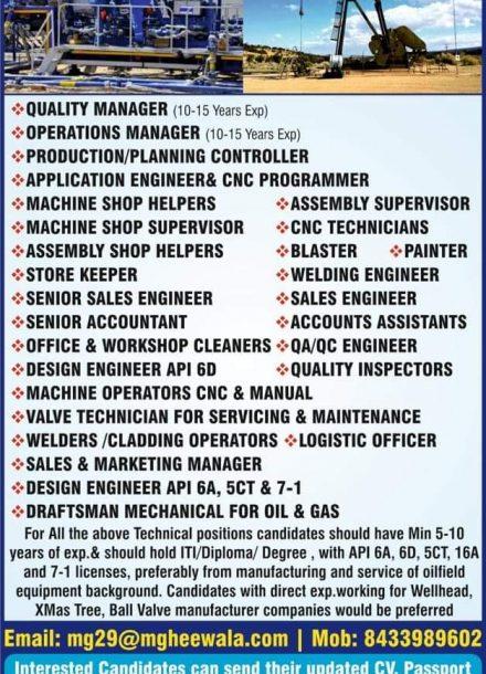 GHEEWALA OVERSEAS JOBS OPENINGS