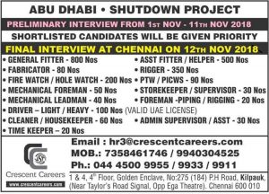 Gulf Shutdown jobs Interview in Chennai