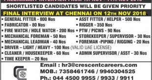 Gulf Shutdown jobs Interview in Chennai