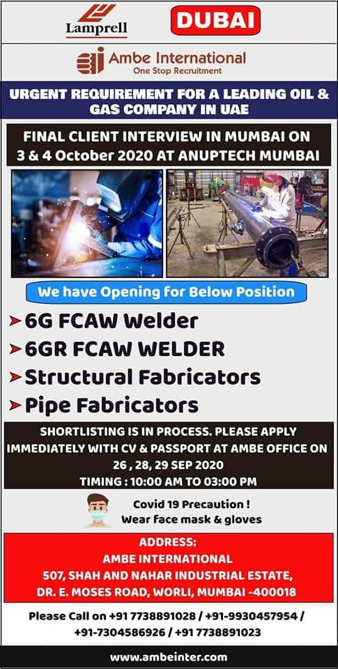URGENTLY REQUIRED FOR UAE IN A LEADING GAS COMPANY