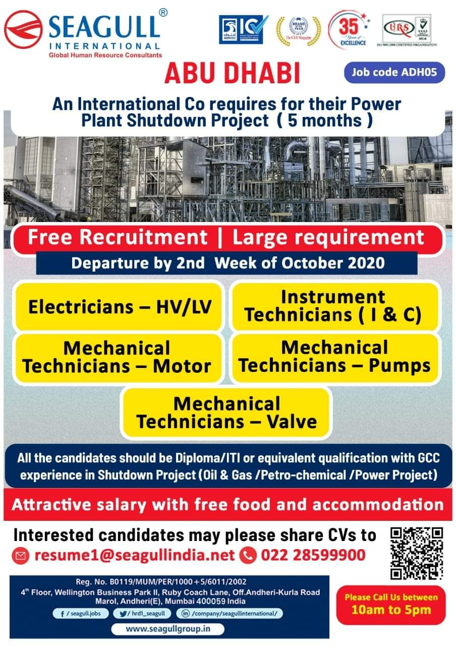 URGENTLY REQUIRED AT ABU DHABI FOR POWER PLANT SHUTDOWN PROJECT