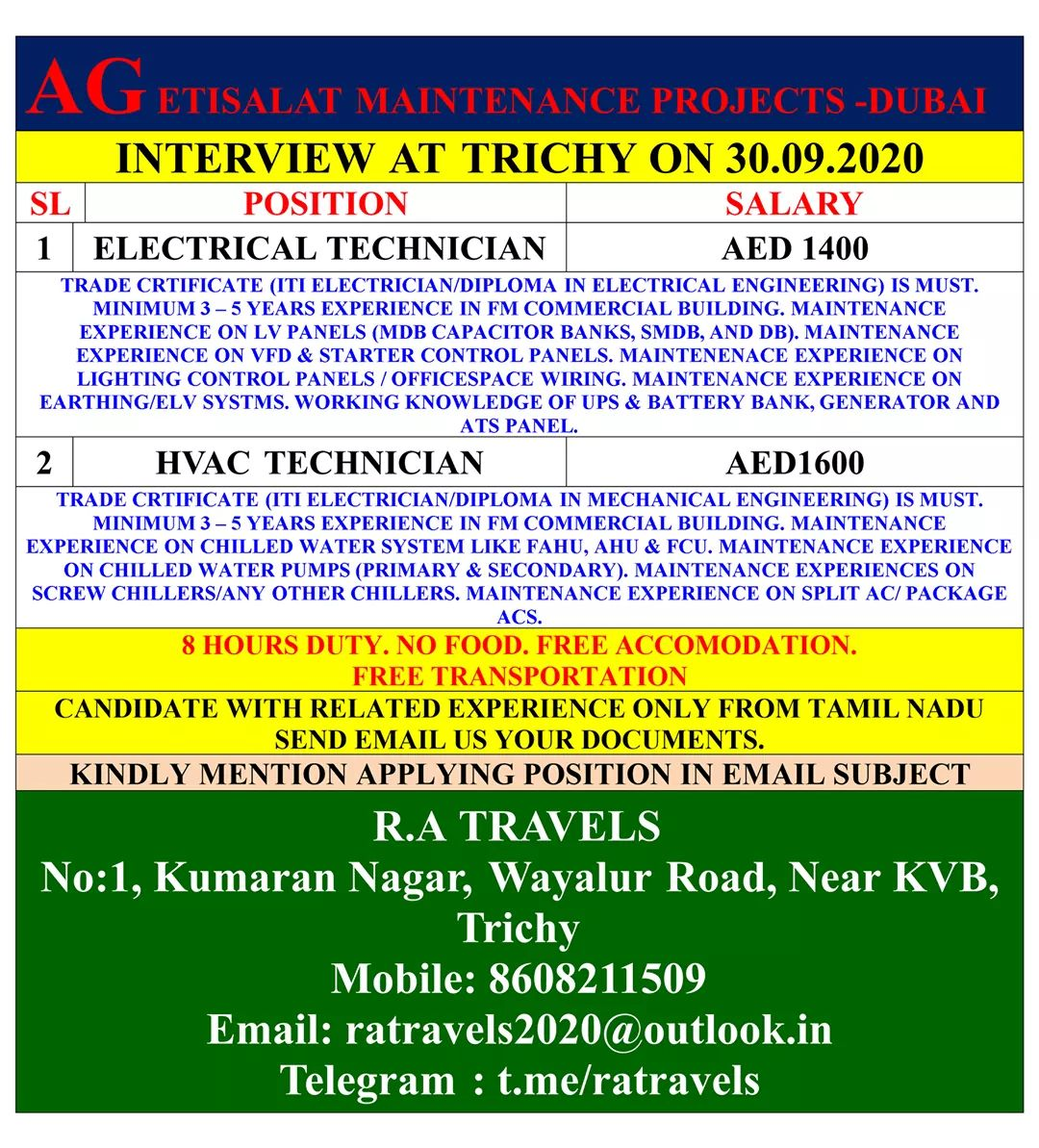 URGENTLY REQUIRED AT DUBAI IN MAINTENANCE PROJECT