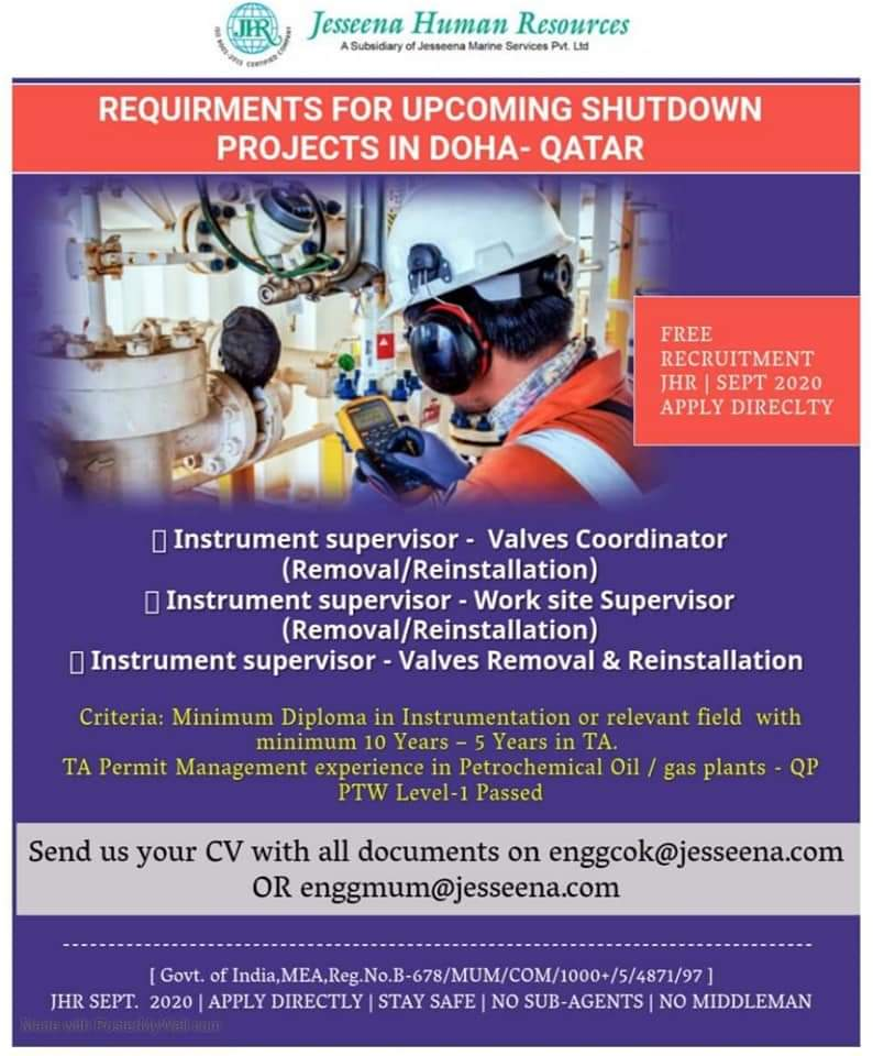 URGENTLY REQUIRED AT QATAR  FOR UPCOMING SHUTDOWN OF PROJECTS IN DOHA