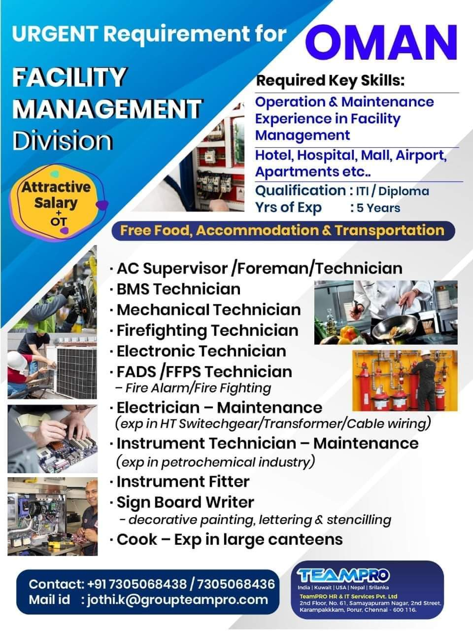 URGENTLY REQUIRED AT OMAN FOR FACILITIES MANAGEMENT