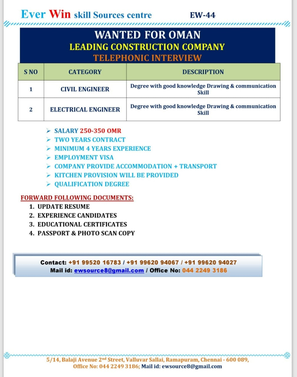 REQUIRED AT OMAN CONSTRUCTION COMPANY, TELEPHONIC INTERVIEW