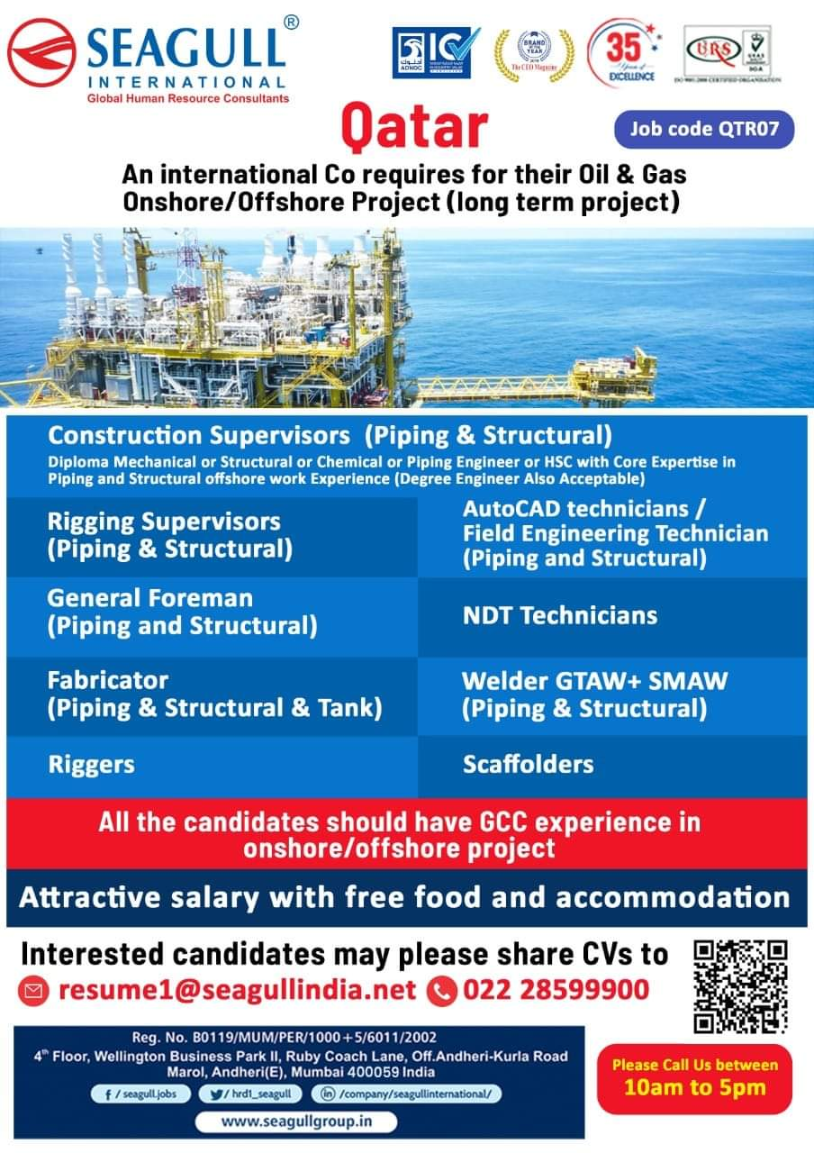 QATAR-INTERNATIONAL COMPANY REQUIRES FOR OIL AND GAS ONSHORE/OFFSHORE PROJEC