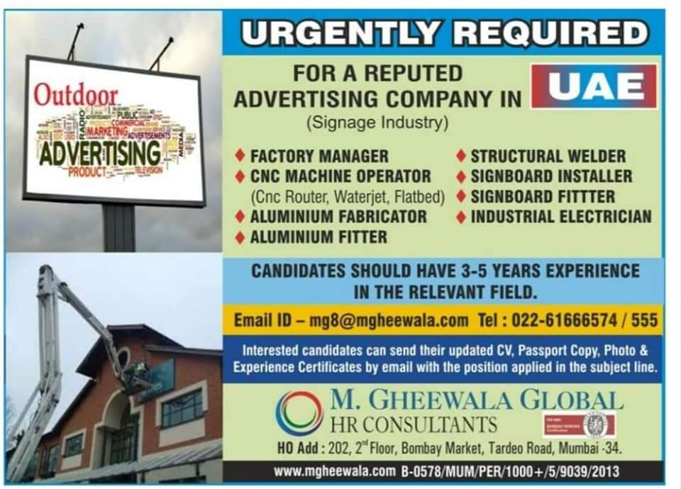 URGENTLY REQUIRED FOR ADVERTISING COMPANY UAE