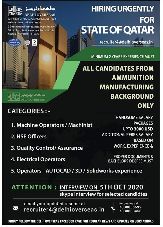 HIRING URGENTLY FOR STATE OF QATAR