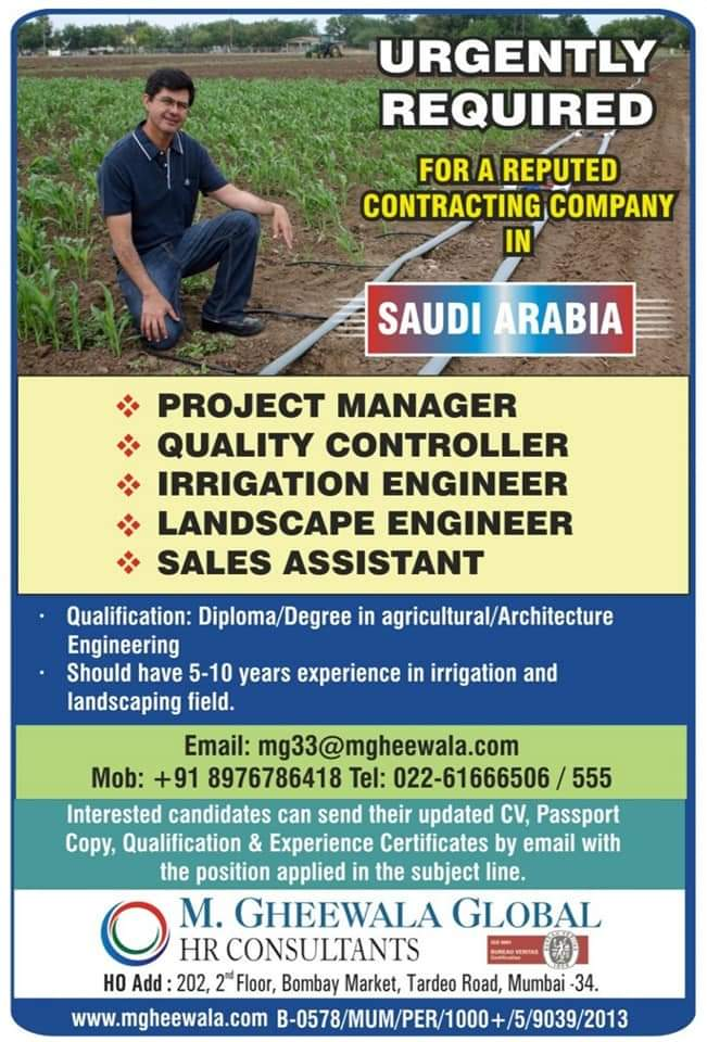 URGENTLY REQUIRED FOR CONTACTING COMPANY IN SAUDI ARABIA