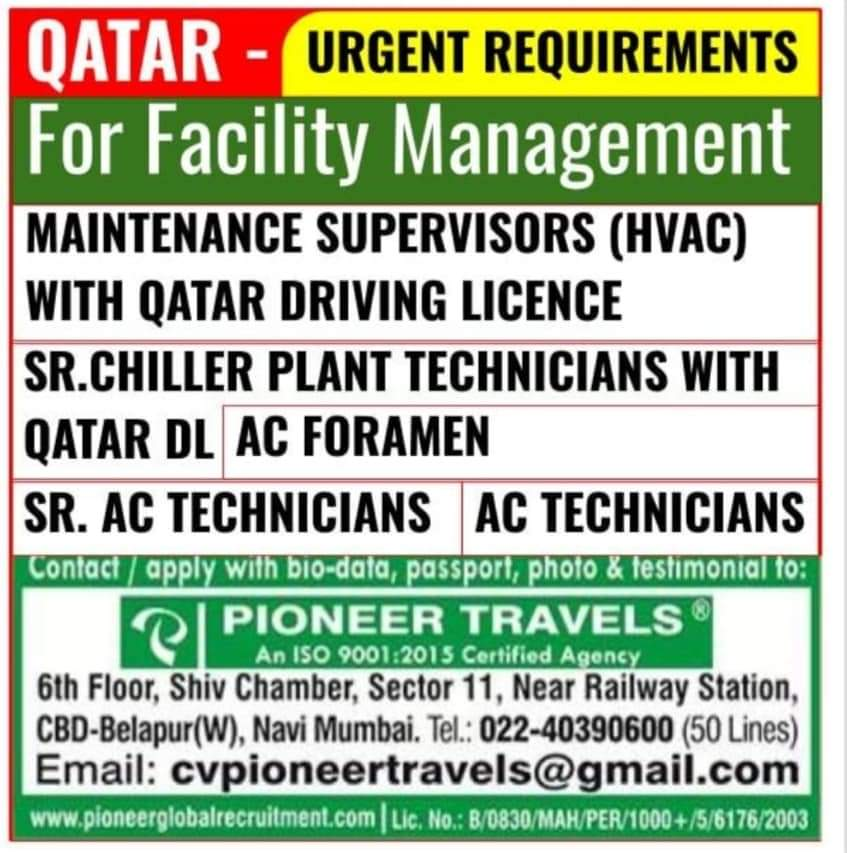 URGENTLY REQUIRED AT QATAR FOR FACILITY MANAGEMENT