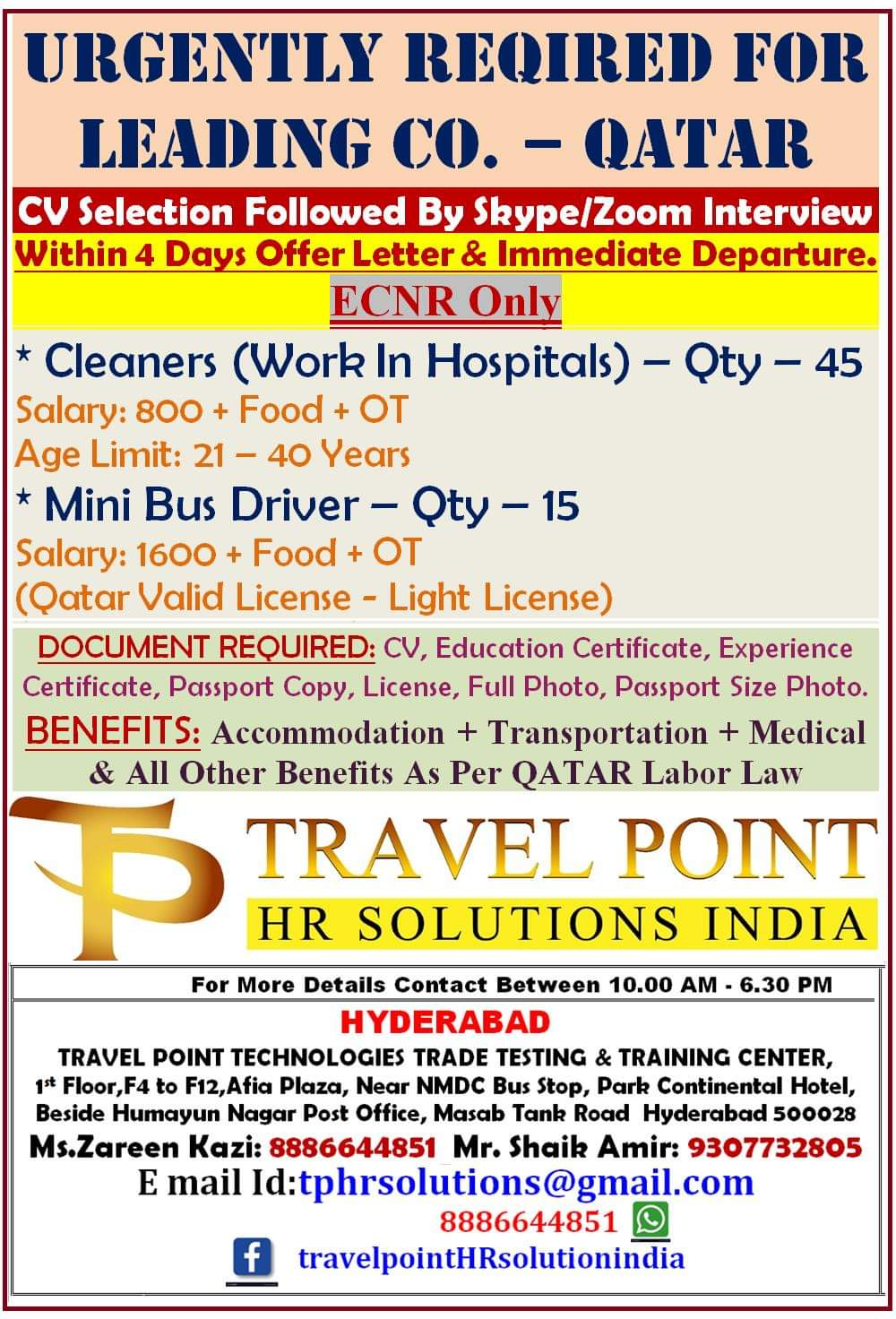 URGENTLY REQUIRED FOR LEADING COMPANY QATAR