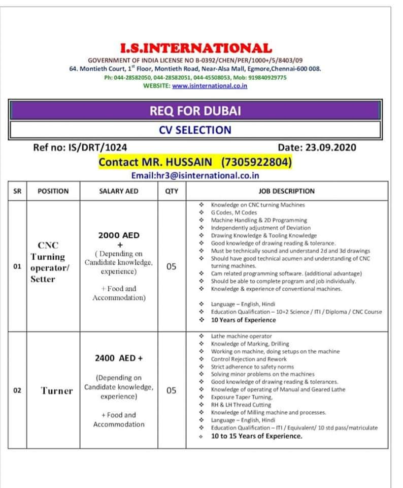 REQUIRED FOR DUBAI INTERVIEW AT CHENNAI