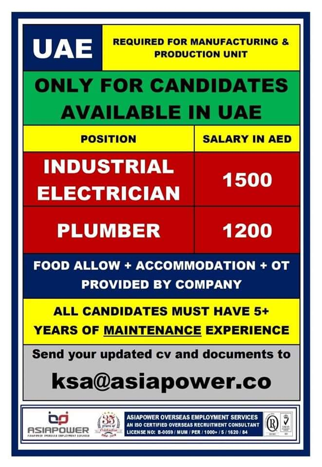 REQUIRED FOR PRODUCTION UNIT UAE