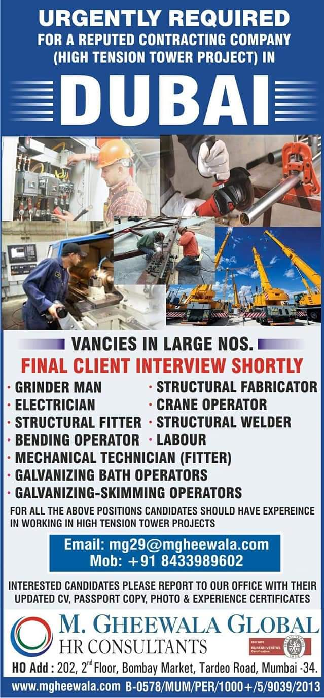 URGENTLY REQUIRED FOR REPUTED CONTRACTING COMPANY DUBAI