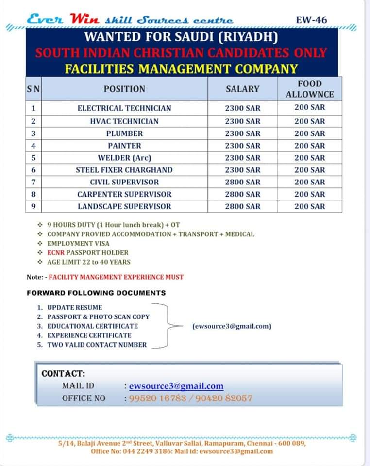 WANTED FOR SAUDI(RIYADH) FACILITY MANAGEMENT COMPANY