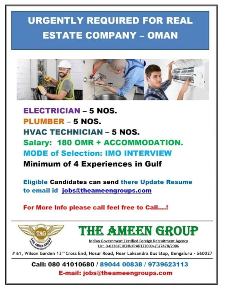 URGENTLY REQUIRED FOR REAL ESTATE COMPANY OMAN