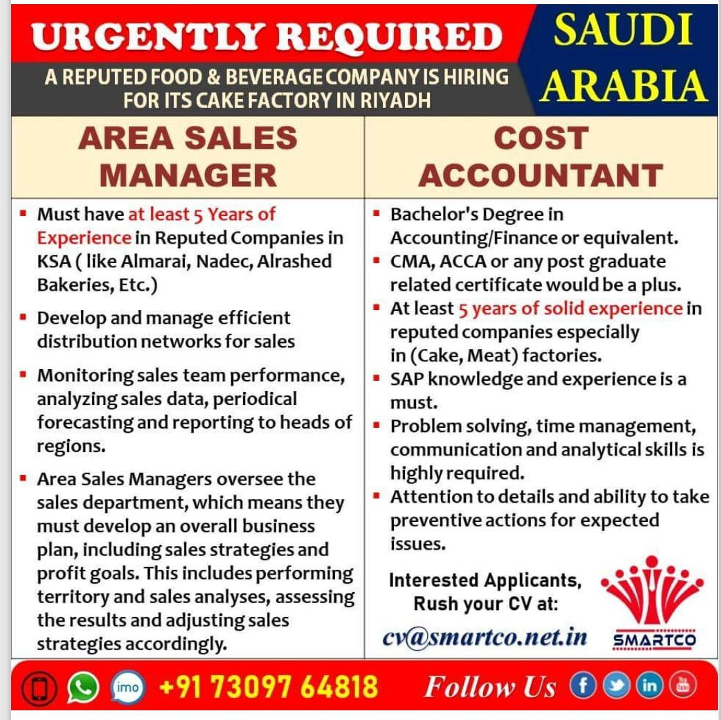URGENTLY REQUIRED FOR SAUDI ARABIA FOOD & BEVERAGE COMPANY