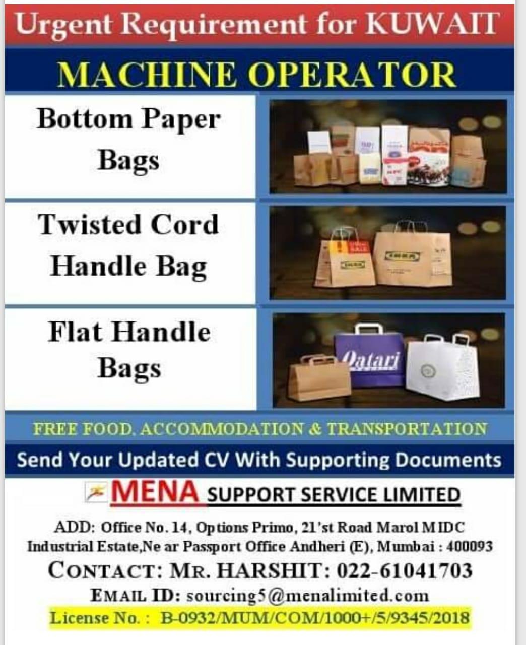 URGENT REQUIREMENT FOR KUWAIT MACHINE OPERATOR