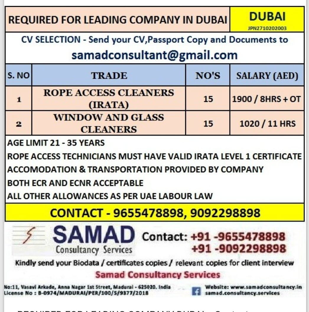 REQUIRED FOR COMPANY IN DUBAI
