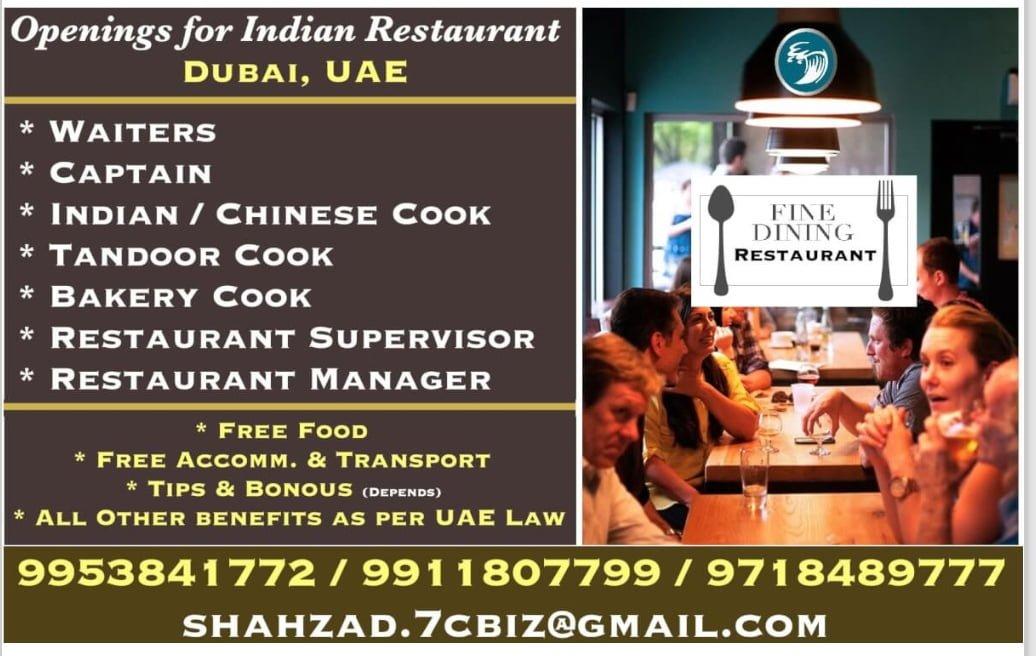 OPENINGS FOR INDIAN RESTAURANT  DUBAI, UAE