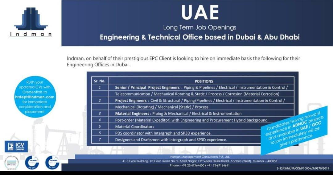 JOB OPENINGS  ENGINEERING & TECHNICAL OFFICE BASED IN DUBAI & ABU DHABI