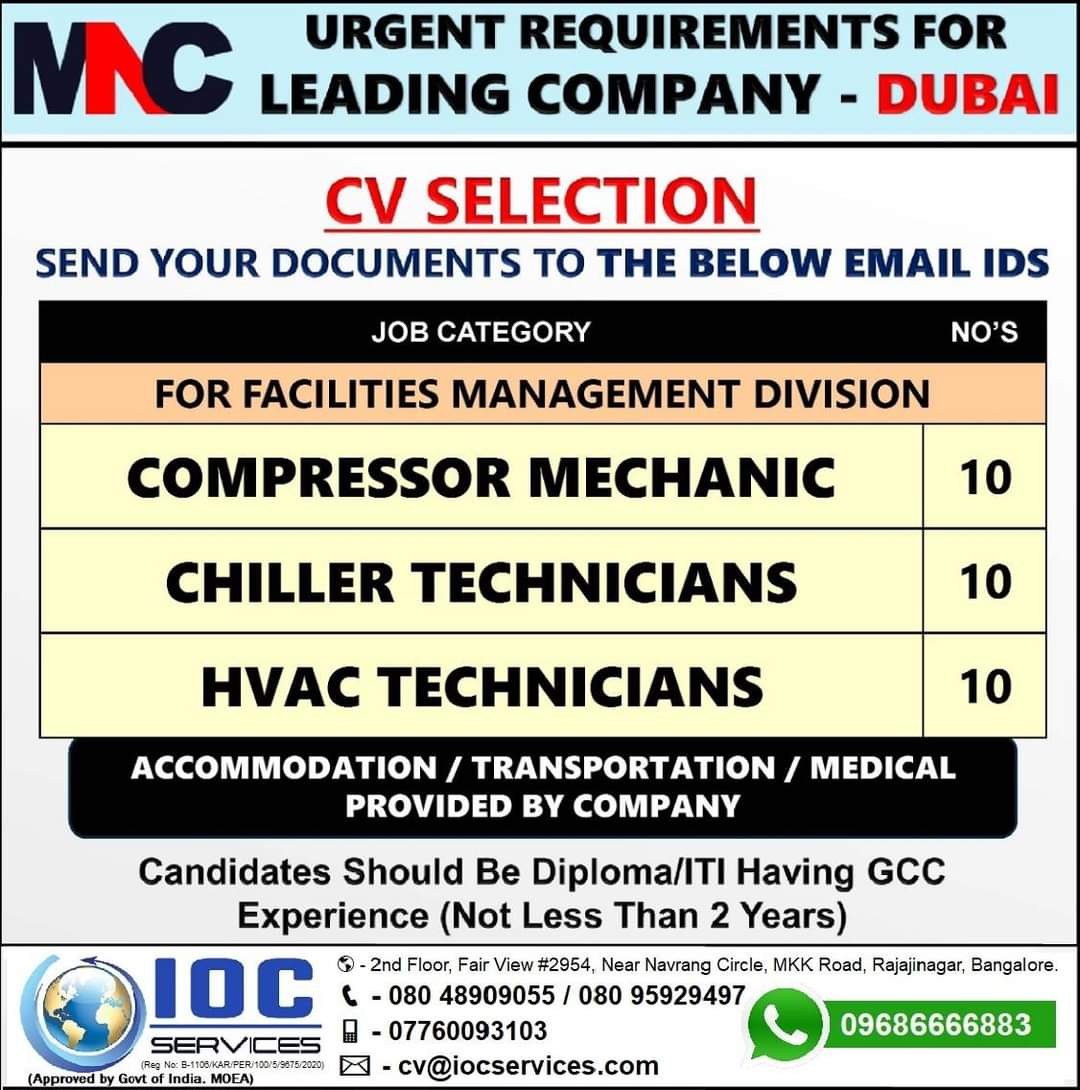 URGENT REQUIREMENT FOR COMPANY-DUBAI