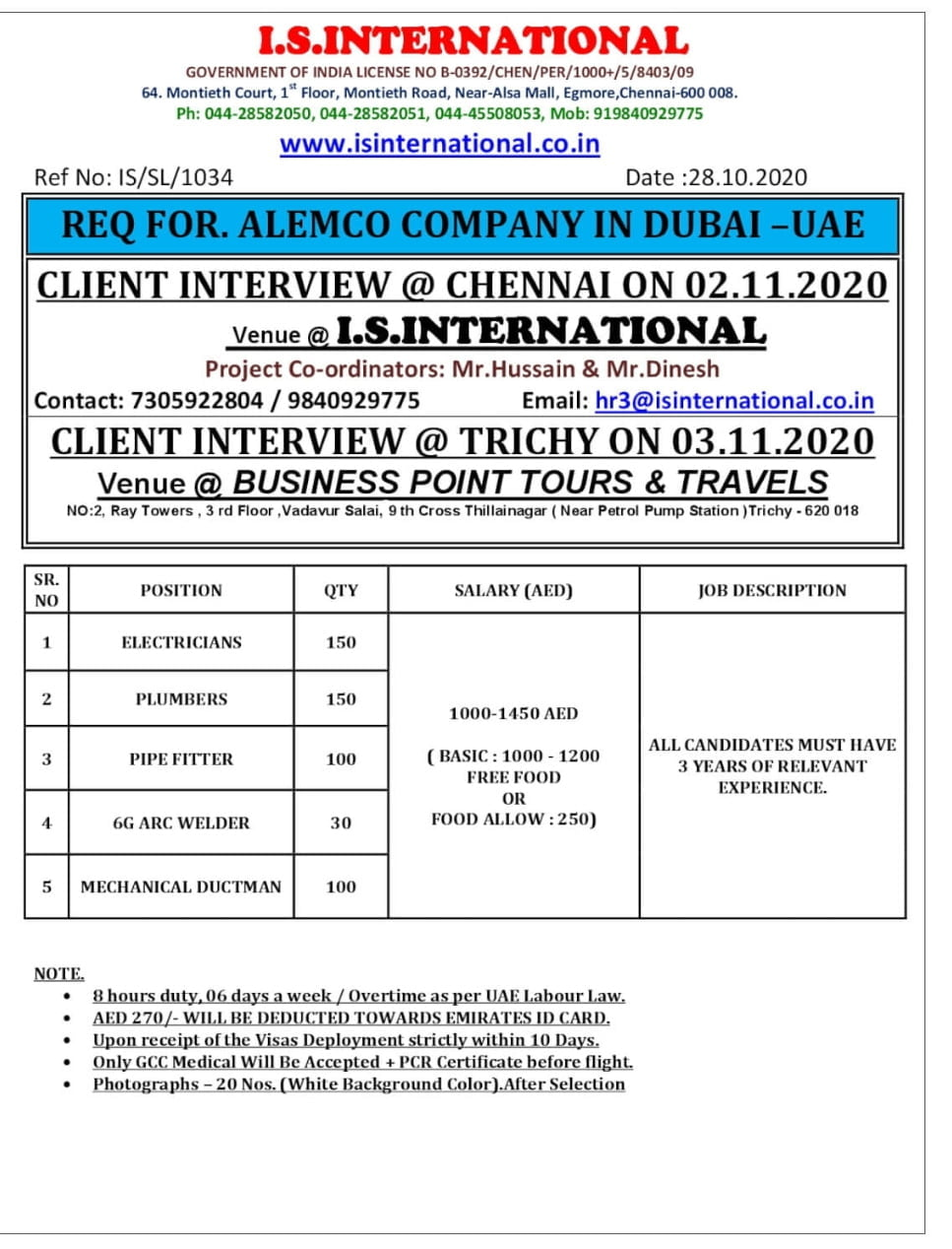 REQUIRED FOR ALEMCO COMPANY IN DUBAI -UAE