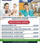 URGENTLY REQUIRED NURSES AT GOVERNMENT MILITARY HOSPITAL IN JUBAIL, SAUDI ARABIA