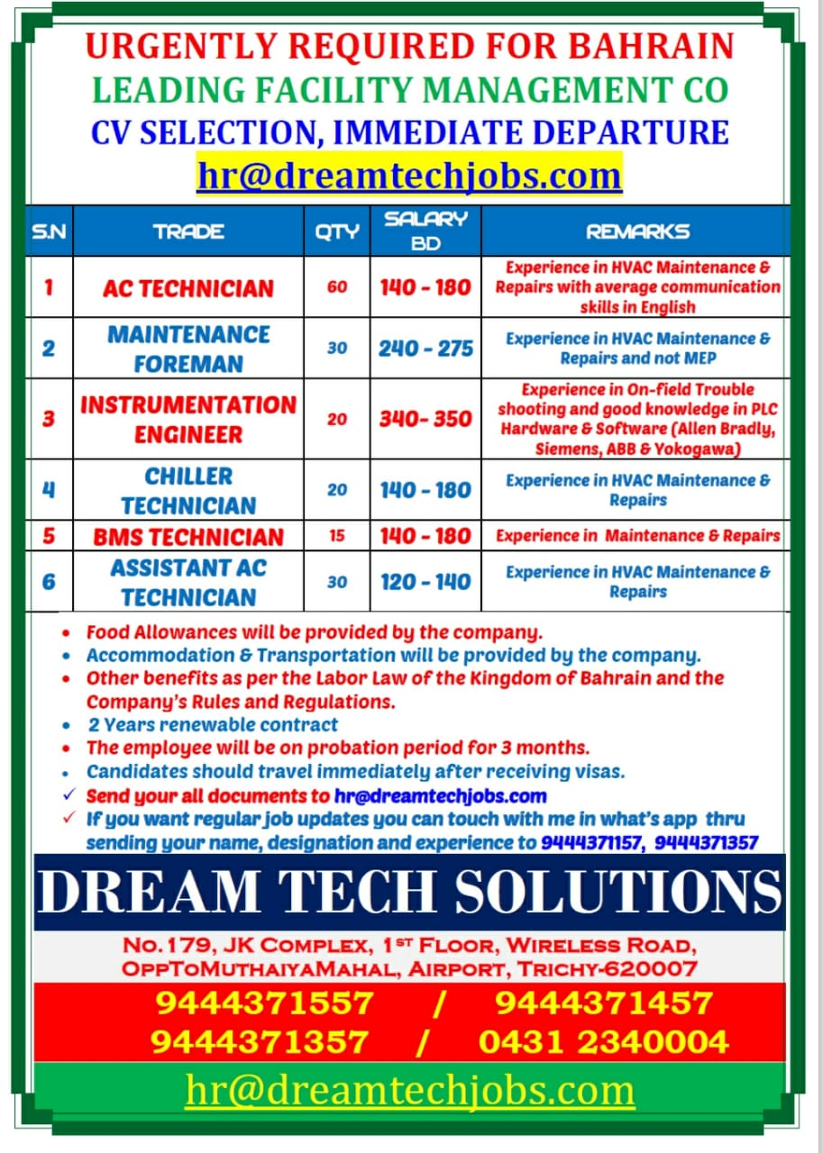 URGENTLY REQUIRED FOR BAHRAIN FACILITY MANAGEMENT CO.