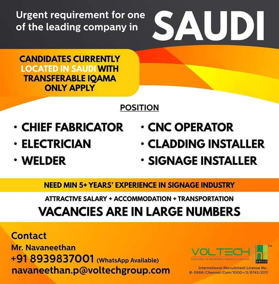 URGENT REQUIREMENT FOR ONE OF THE LEADING COMPANY IN SAUDI