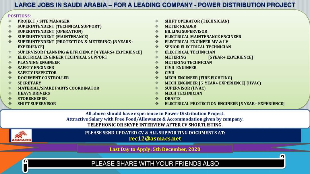JOBS IN SAUDI ARABIA POWER DISTRIBUTION PROJECT