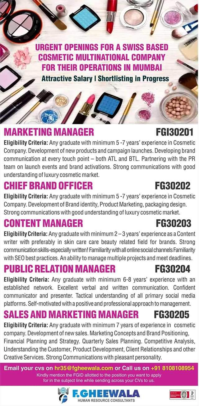 URGENT OPENING AT MUMBAI COSMETIC MULTINATIONAL COMPANY