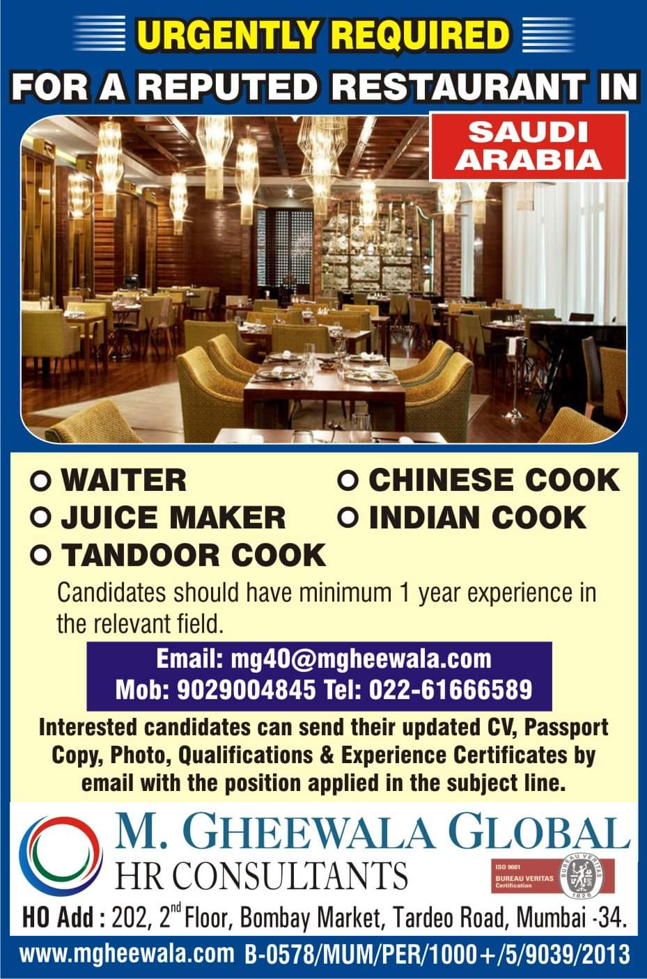 URGENTLY REQUIRED FOR RESTAURANT IN SAUDI ARABIA