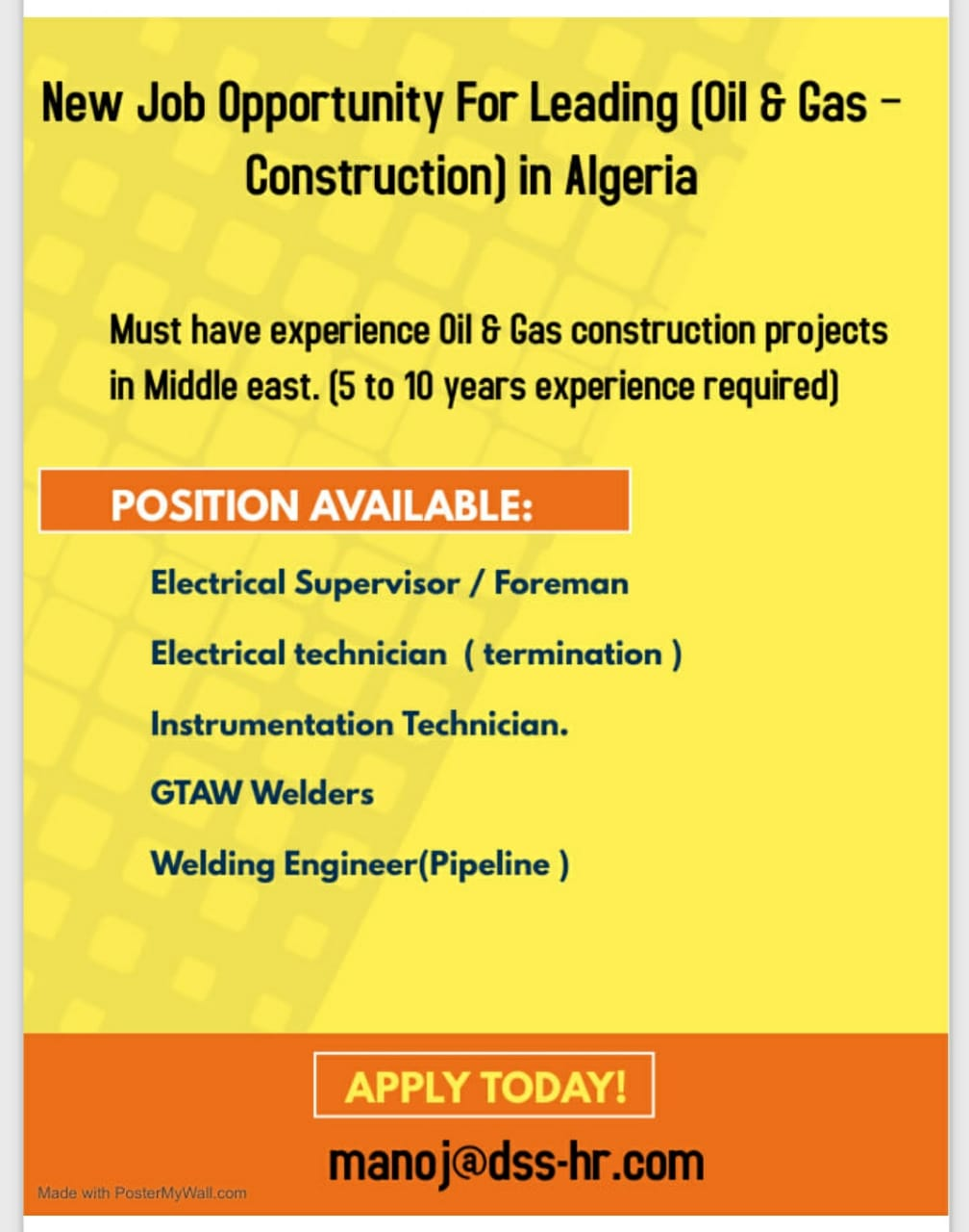 Job Opportunity For Leading (Oil & Gas – Construction) in Algeria
