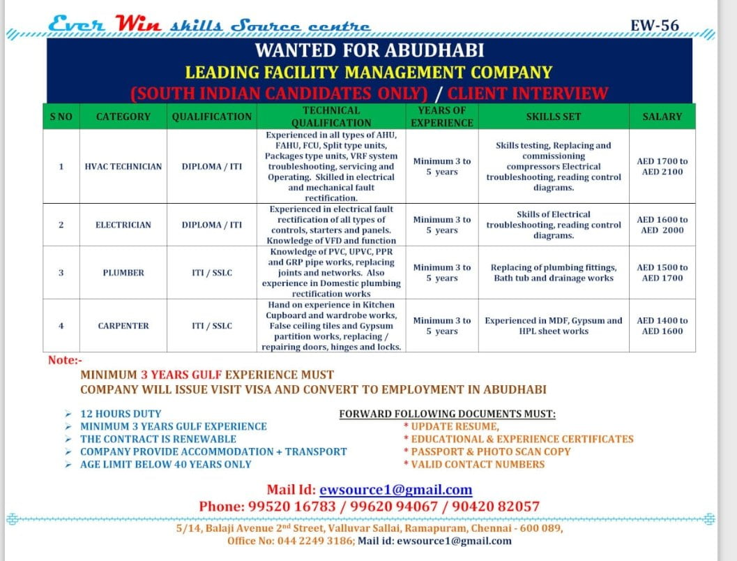WANTED FOR ABUDHABI  LEADING FACILITY MANAGEMENT COMPANY
