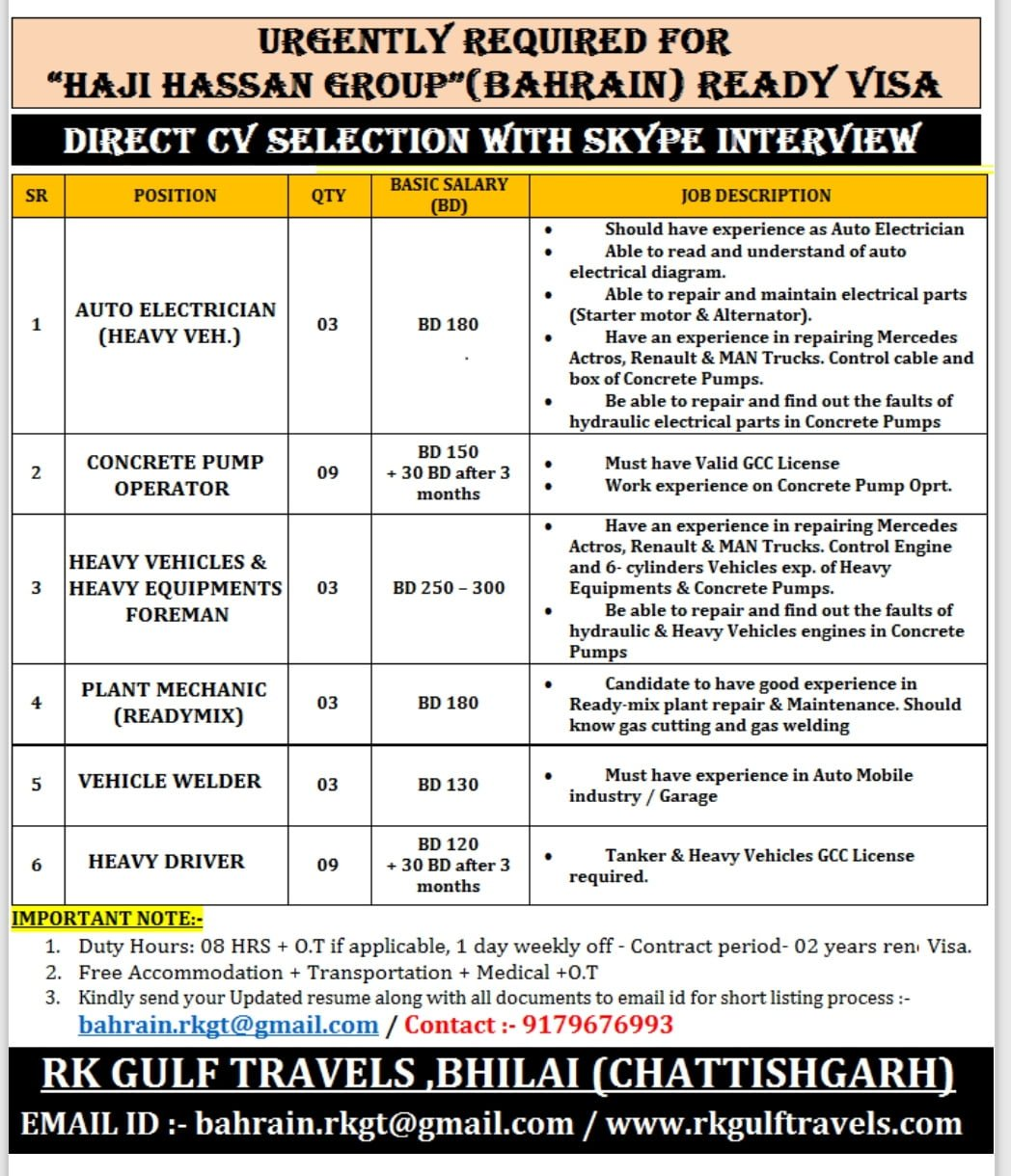 "URGENTLY REQUIRED FOR  ""HAJI HASSAN GROUP""(BAHRAIN)"