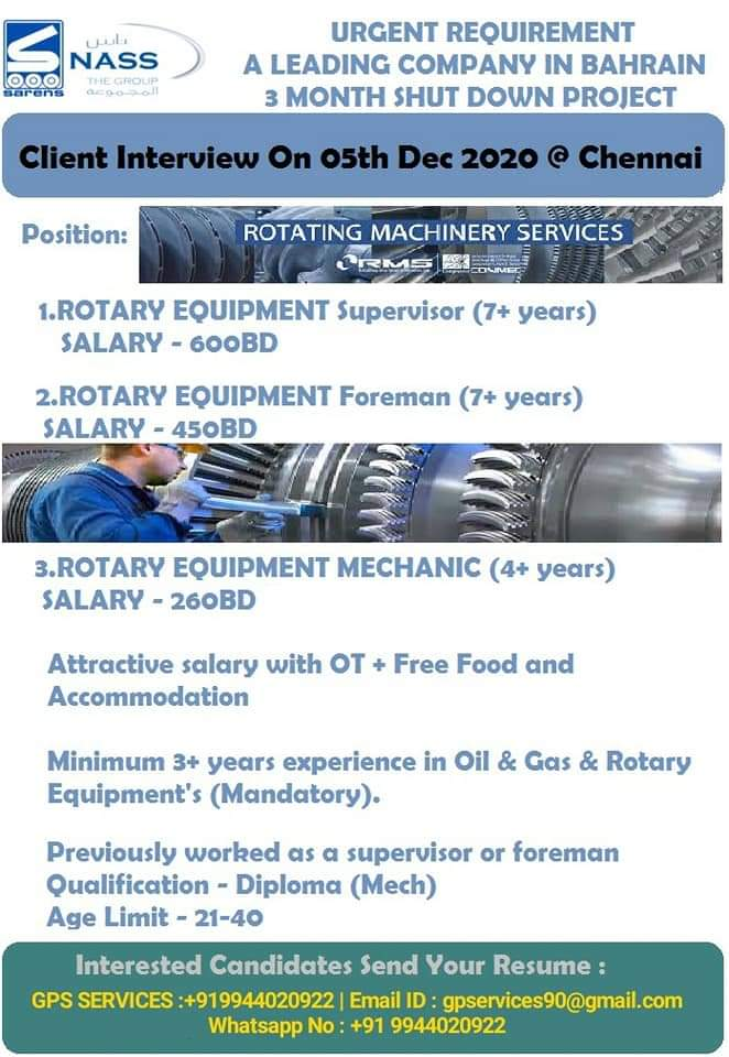 URGENT REQUIREMENT  A LEADING COMPANY IN BAHRAIN
